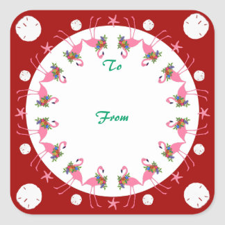 Flamingos Red Beach Christmas To From Gift Label