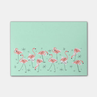 Flamingos Retro Green Wide post-it note