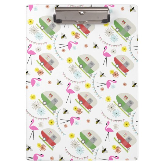 Flamingos + Retro Trailers Pattern Clipboard
