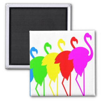 Flamingos Square Magnet