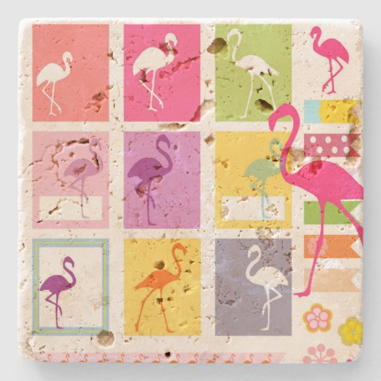 Flamingos Stone Beverage Coaster