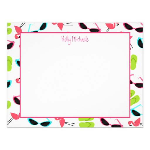 Flamingos & Sunglasses Personalized Flat Notecards Custom Announcements