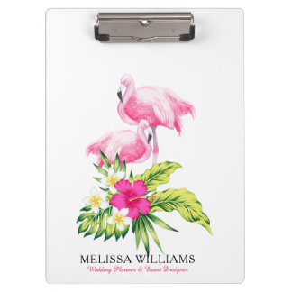 Flamingos & Tropical Flowers Bouquet Clipboard