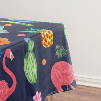Flamingos & Tropical Flowers Pattern Tablecloth