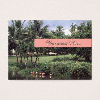 Flamingos Tropical Theme Retro Palms Business Card