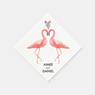 Flamingos tropical wedding disposable napkins