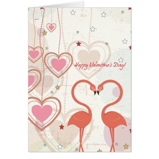 flamingos valentines day card