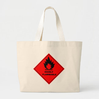 Flammable Warning Sign Large Tote Bag