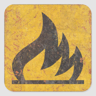 Flammable Warning Sign Square Sticker