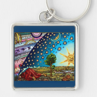 Flammarion Dome Necklace Silver-Colored Square Keychain