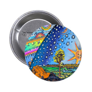 Flammarion Woodcut Flat Earth Design Square COLOR 2 Inch Round Button