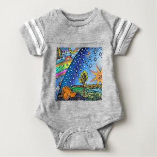 Flammarion Woodcut Flat Earth Design Square COLOR Baby Bodysuit