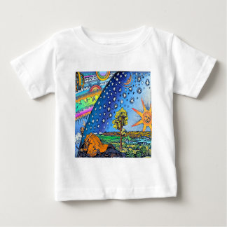 Flammarion Woodcut Flat Earth Design Square COLOR Baby T-Shirt