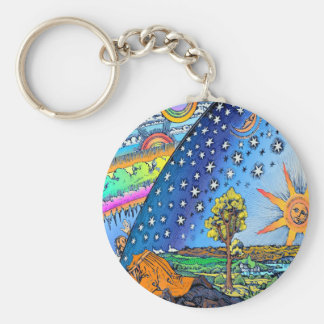 Flammarion Woodcut Flat Earth Design Square COLOR Basic Round Button Keychain
