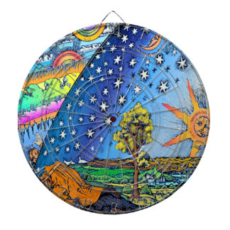 Flammarion Woodcut Flat Earth Design Square COLOR Dartboard