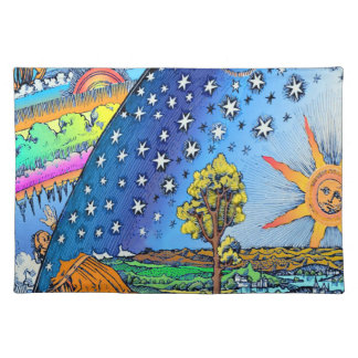 Flammarion Woodcut Flat Earth Design Square COLOR Placemat