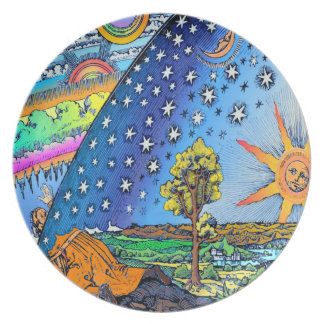 Flammarion Woodcut Flat Earth Design Square COLOR Plate