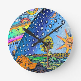 Flammarion Woodcut Flat Earth Design Square COLOR Round Clock