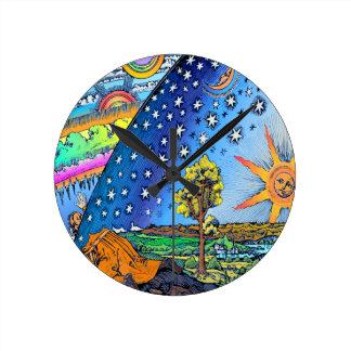 Flammarion Woodcut Flat Earth Design Square COLOR Wall Clocks