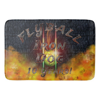 Flamz Flyball Iron Dog - 10 years of competition! Bath Mat