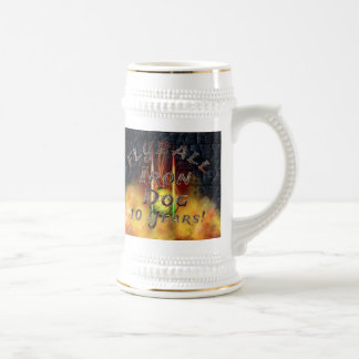 Flamz Flyball Iron Dog - 10 years of competition! Beer Stein