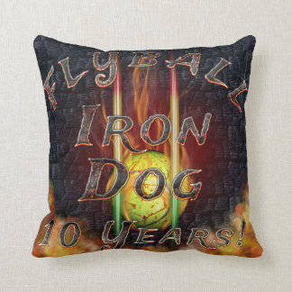 Flamz Flyball Iron Dog - 10 years of competition! Throw Pillow