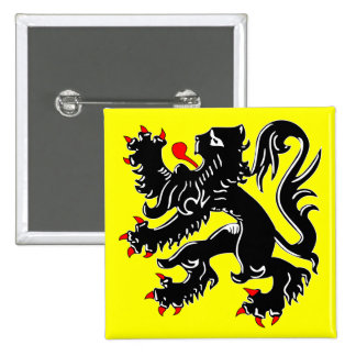 Flanders, Belgium flag 2 Inch Square Button