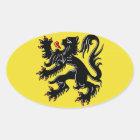 Flanders (Belgium) Flag Oval Sticker