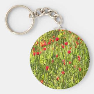Flanders Poppies Basic Round Button Keychain