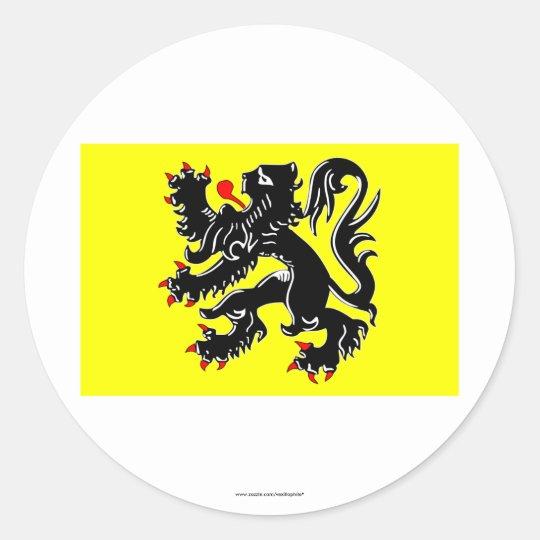 Flanders Region Flag Classic Round Sticker