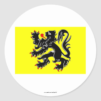 Flanders Region Flag Round Sticker