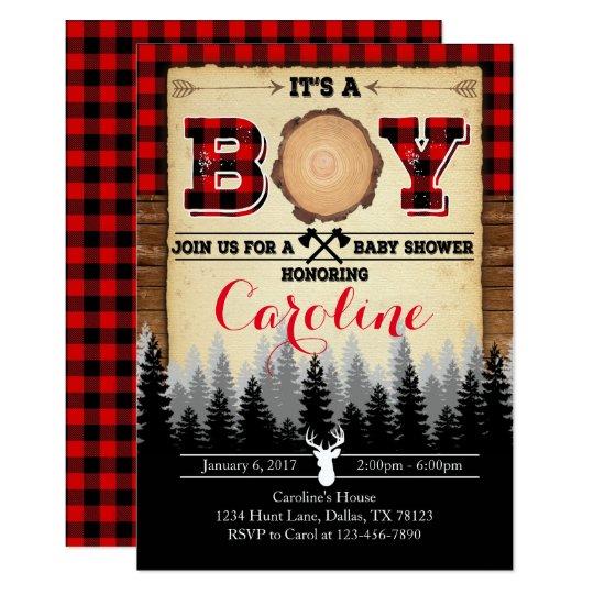 Flannel Lumberjack Baby Shower Invitation Invite