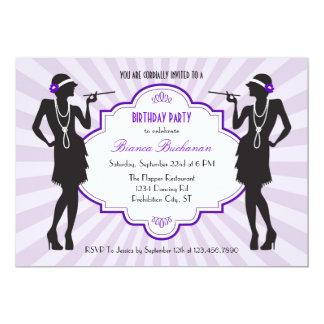 "Flapper Birthday Party Invitation 5"" X 7"" Invitation Card"