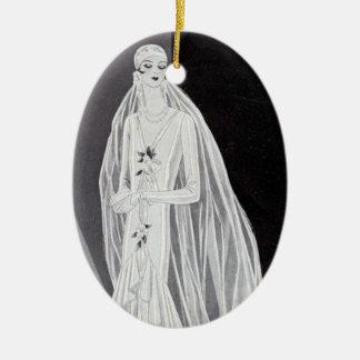 Flapper Bride Ceramic Ornament