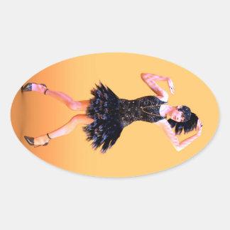 Flapper Dancing Oval Sticker