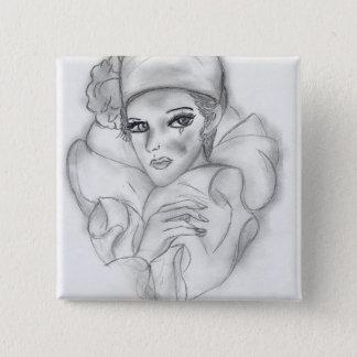 Flapper Doll - 4 2 Inch Square Button