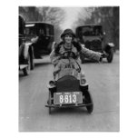 Flapper Driving Pedal Car, 1924. Vintage Photo Poster