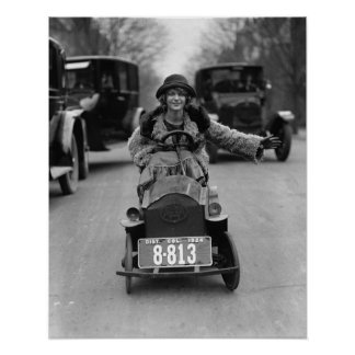 Flapper Driving Pedal Car, 1924. Vintage Photo Poster