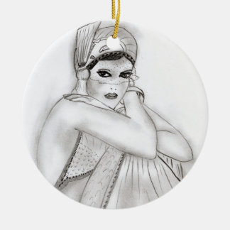 Flapper Girl Ceramic Ornament