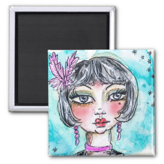 Flapper Girl Illustration Blue Eyes Black Hair Fun Magnet