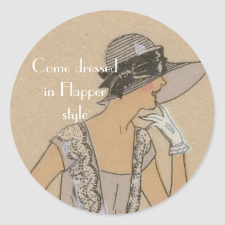 Flapper Girl in Large Brim Hat Round Sticker