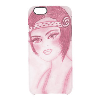 Flapper Girl In Red Clear iPhone 6/6S Case