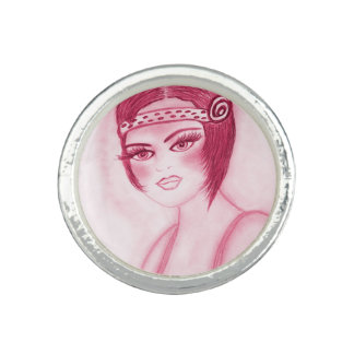 Flapper Girl In Red Photo Rings