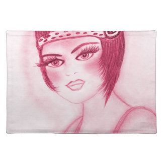 Flapper Girl In Red Placemats