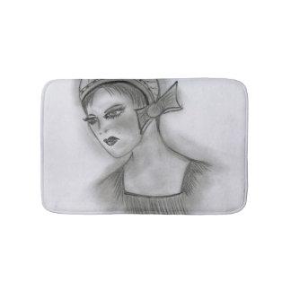 Flapper Girl With Bow Bath Mat