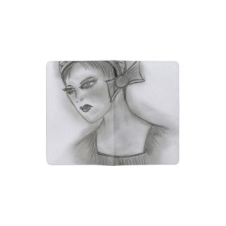 Flapper Girl With Bow Pocket Moleskine Notebook