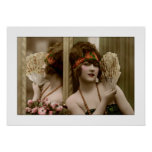 flapper girl with fan and reflection poster