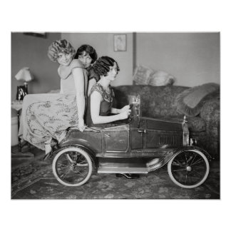 Flapper Girls With Pedal Car, 1922. Vintage Photo Poster