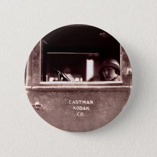 Flapper in Eastman Kodak Car - Vintage, 1920s 2 Inch Round Button