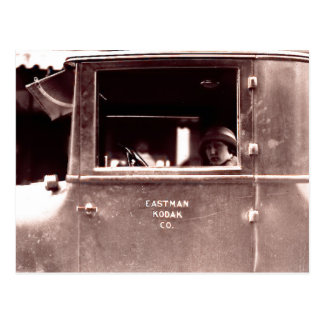 Flapper in Eastman Kodak Car - Vintage, 1920s Postcard